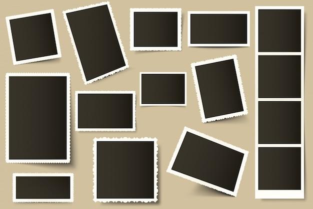 Retro ramki do zdjęć. vintage szablon granicy, stare zdjęcia i papierowe ramki z realistycznymi zestawami cieni. 3d dekoracyjne zdjęcie i kwadratowa migawka. kolekcja granic