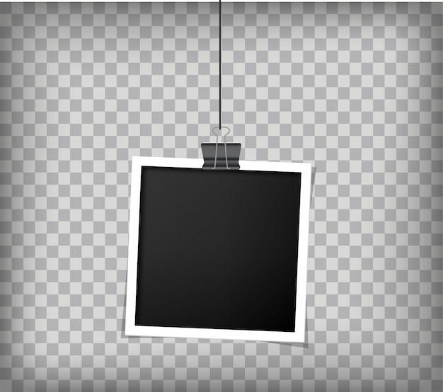Retro realistyczna ramka na zdjęcia z papierem