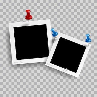 Retro realistyczna ramka na zdjęcia z spinacza do papieru na przezroczystym tle