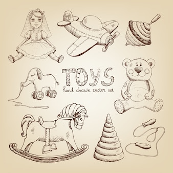 Retro ręcznie rysowane zabawki: lalka samolot wirowy miś