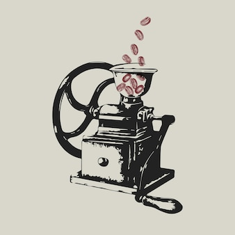 Retro ręczny młynek do kawy logo firmy ilustracja tożsamości korporacyjnej