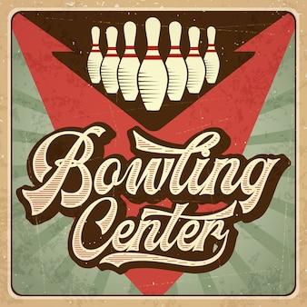 Retro reklama plakat bowling. sztuka plakatu.
