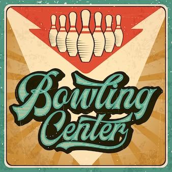 Retro reklama plakat bowling. zabytkowy styl