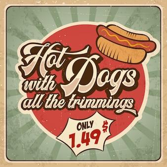 Retro Reklama Restauracja Znak Dla Hot-dogi. Sztuka Plakatu Premium Wektorów