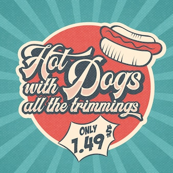 Retro reklama restauracja znak dla hot-dogi. zabytkowy styl