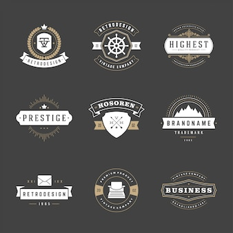 Retro rocznika odznaki i loga ustawiający wektorowi projektów elementy