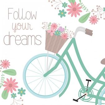 Retro rower z koszem i dekoracją kwiatową