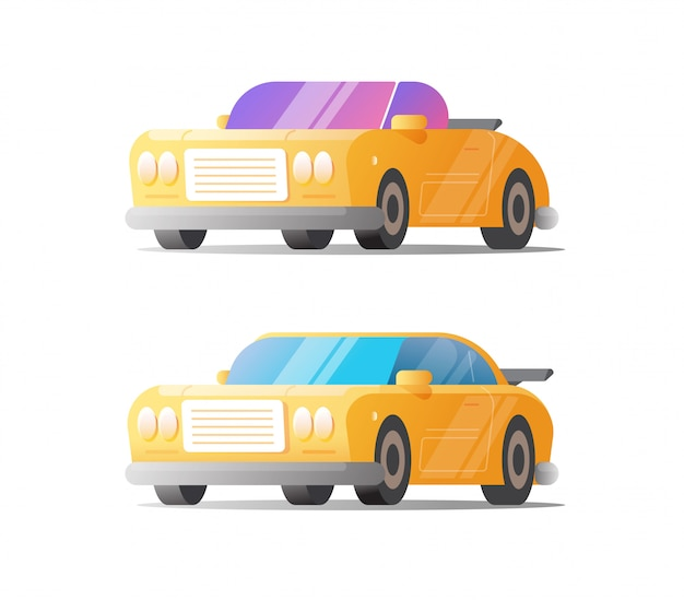 Retro samochód i sportowy pojazd ustawiający na białej koloru clipart ilustraci