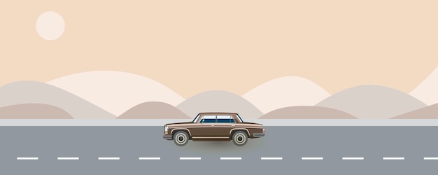 Retro samochód z lat 80. podróżujący drogą. letnia podróż automatyczna