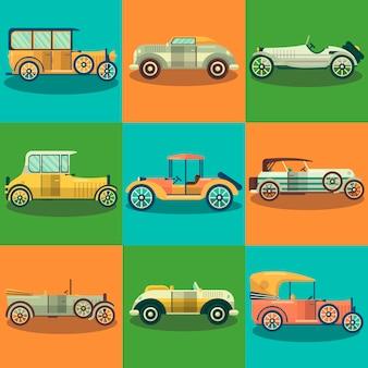 Retro samochody i kolekcjonerów aut wektor zestaw płaski