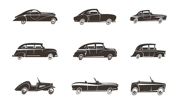 Retro samochody motoryzacyjny projekt czarne ikony kolekcja na białym tle ilustracji wektorowych