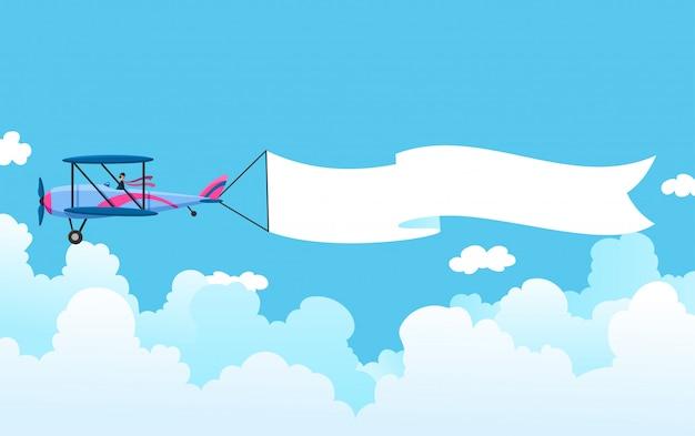 Retro samolot z sztandarem. dwupłatowy samolot ciągnąc banner reklamowy. płaszczyzna z białą wstążką do obszaru wiadomości. ilustracja