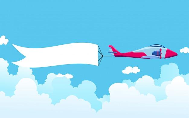 Retro samolot z sztandarem. dwupłatowy samolot ciągnący banner reklamowy. płaszczyzna z białą wstążką do obszaru wiadomości. ilustracja