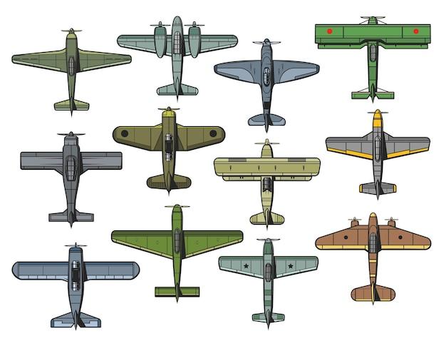 Retro samoloty wojskowe i cywilne na białym tle zestaw. vintage myśliwiec sił powietrznych, bombowiec i samolot transportowy.
