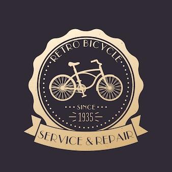 Retro serwis i naprawa rowerów vintage logo, godło ze starym rowerem, złoto ponad ciemnością