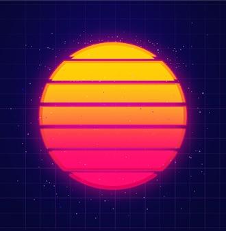 Retro słońce świecące na gwiaździstym niebie vaporwave i muzyczne tło futurystyczny zachód słońca w stylu lat 80.