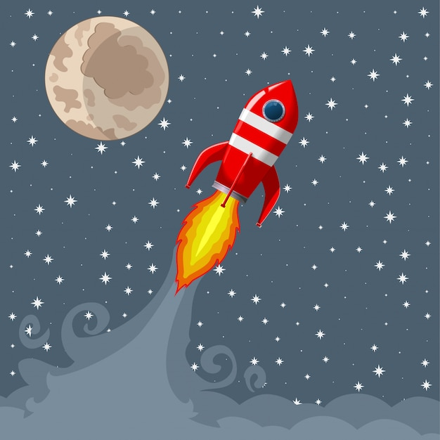 Retro space rocket lifts off.
