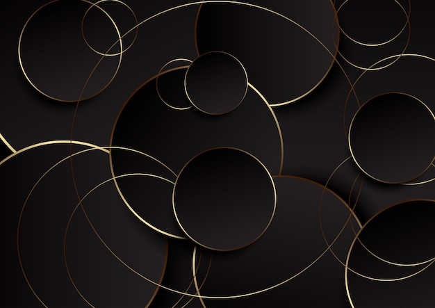 Retro streszczenie tło z projektu złote i czarne koła