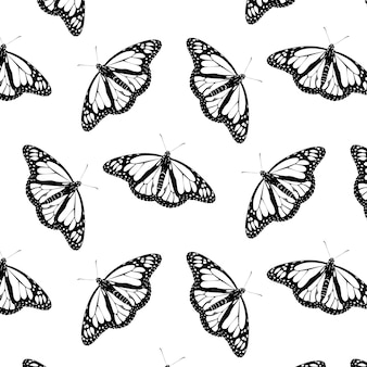 Retro streszczenie zbliżenie monarch motyl wzór czarno na białym tle. tło cyfrowe.