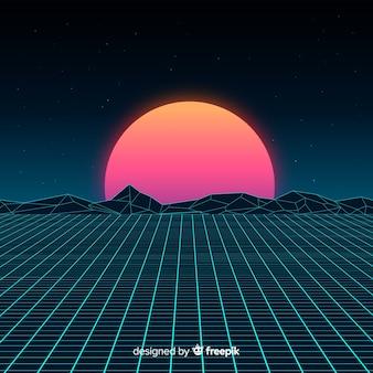 Retro styl futurystyczny krajobraz tło