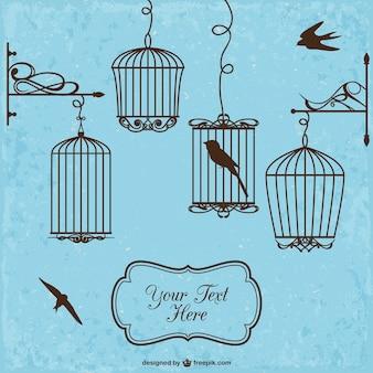 Retro styl klatki dla ptaków