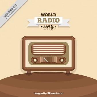 Retro światowy dzień radia tle