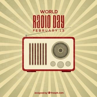 Retro światowy dzień radia w tle