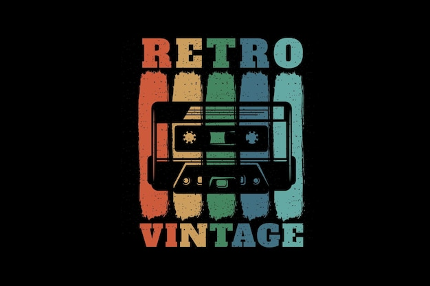 Retro sylwetka w stylu vintage z kasetą