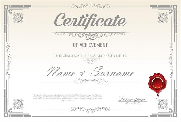 Retro szablon certyfikatu lub dyplomu