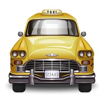 Retro taksówka. vintage żółty samochód z czarnym znakiem taksówki.