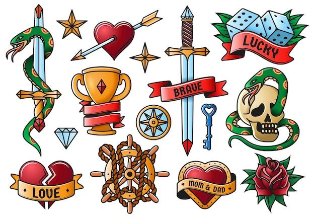 Retro tatuażu róża, nóż, serce, czaszka starej szkoły symbole. vintage tatuaż grawerowanie elementów na białym tle wektor zestaw ilustracji. tatuaże ze starej szkoły