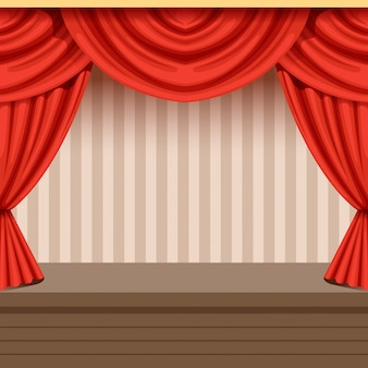 Retro teatr sceny tło z czerwoną zasłoną i pasiastym tłem. drewniana scena z draperiami i lambrekinami. ilustracja wnętrza.