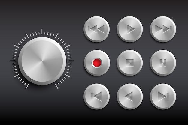 Retro technika przyciski odizolowane na czarno