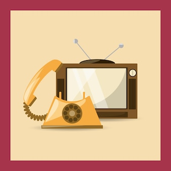 Retro telewizja i telefon ikona nad kolorowym tłem