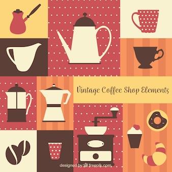 Retro tła elementów kawiarni