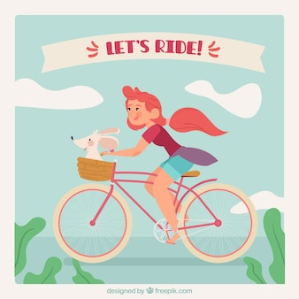 Retro tło dziewczyna na rowerze ze swoim zwierzakiem