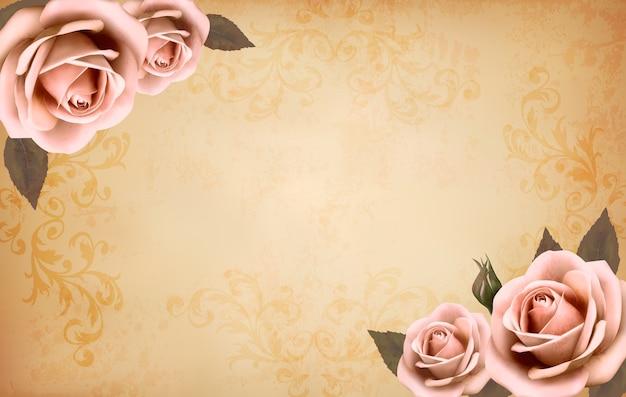 Retro tło z pięknymi różowymi różami z pąkami