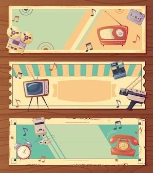 Retro urządzenia poziome banery