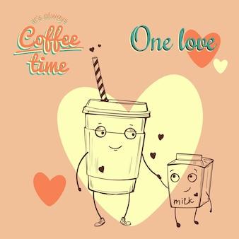 Retro vintage coffee ilustracja z wektorem przyjaznych znaków