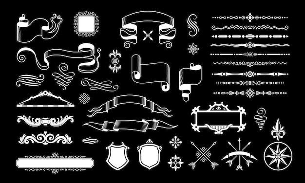 Retro vintage design czarny zestaw z izolowanymi elementami dekoracji