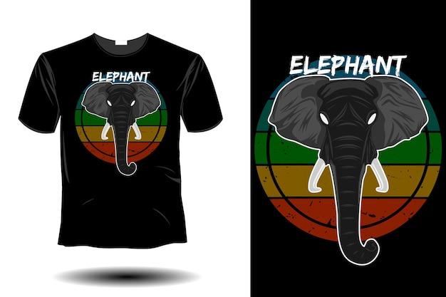 Retro vintage design makieta słonia