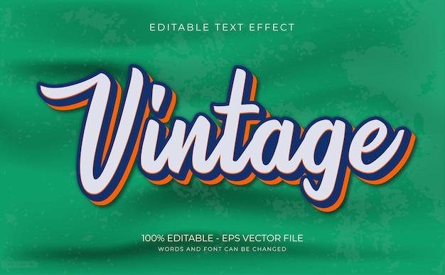 Retro, vintage efekt tekstowy, edytowalny i styl tekstu premium wektor