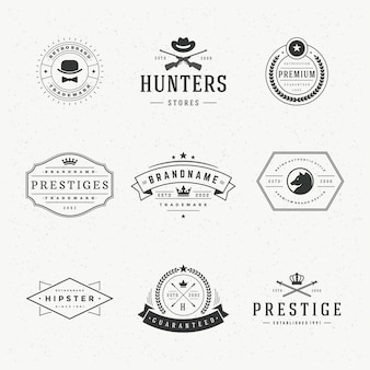 Retro vintage etykiety lub logo ustawić elementy projektu wektorowego