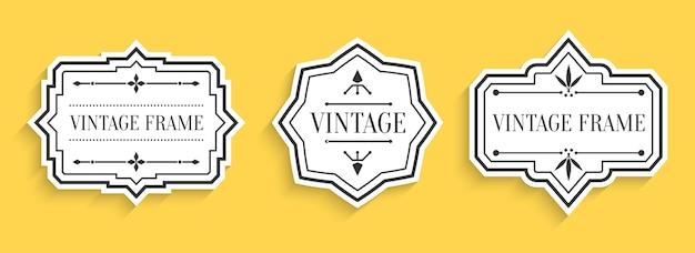 Retro vintage etykiety z cieniem. obramowanie o innym kształcie.