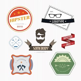 Retro vintage ikony lub zestawów logotypów. elementy projektu wektorowe, znaki firmowe, logo, tożsamość, etykiety, odznaki i przedmioty