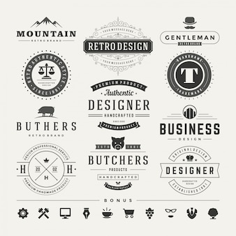 Retro vintage insygniów lub logotypów zestaw elementów wektorów