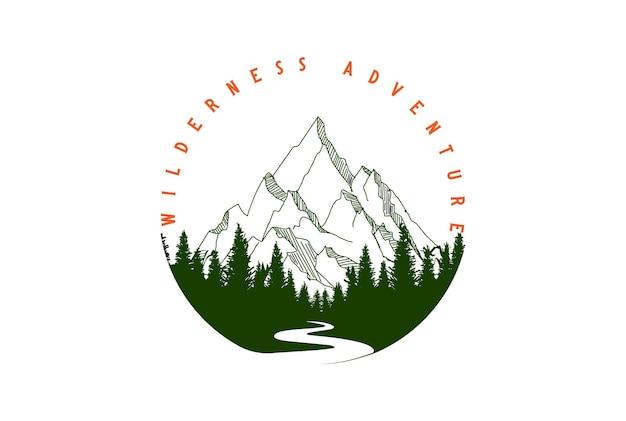 Retro vintage lód śnieg góra i sosna cedr świerk drzewo iglaste jodła wiecznie zielona modrzew cyprys cykuta z creek river valley dla wilderness adventure logo design vector