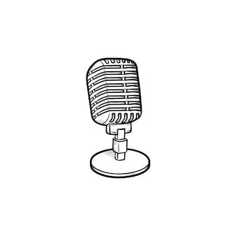 Retro vintage mikrofon ręcznie rysowane konspektu doodle ikona. klasyczny mikrofon jako media, radio i nagrywanie koncepcja szkic wektor ilustracja do druku, sieci web, mobile i infografiki na białym tle.