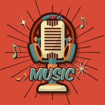 Retro vintage mikrofon urządzenie muzyczne Uwaga