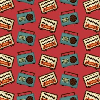 Retro vintage muzyka radio kaseta stereo boombox wzór